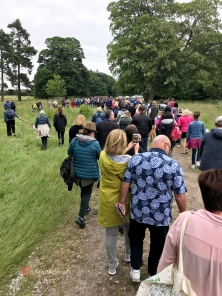 All the people with their dogs starting the walk